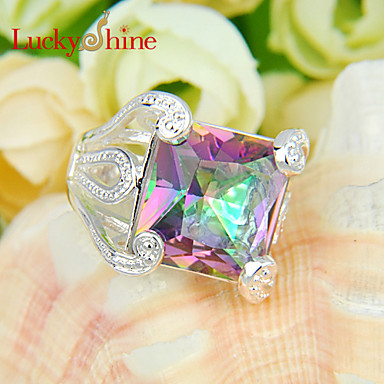 Men's Women's Statement Ring Red Blue Silver Topaz Square Geometric Fashion Party Costume Jewelry