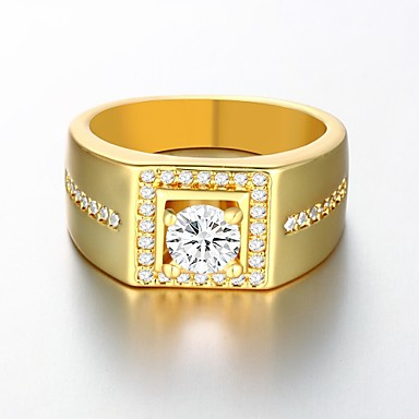 Men's Band Ring - Gold Plated Birthstones 8 / 9 / 10 Golden For Wedding / Party / Daily / Zircon