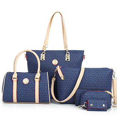 Women Bags PU Shoulder Bag Tote Bag Set 6 Pieces Purse Set for Shopping Casual Formal Office & Career All Seasons White Dark Blue Brown