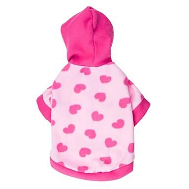 Kissa Koira Hupparit Koiran vaatteet Sydän Pinkki Polar Fleece Puuvilla Asu Lemmikit Naisten Rento/arki