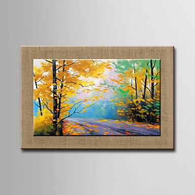 Oil Paintings One Panel Modern Abstract Flowers Hand-painted Natural Linen Ready to Hang
