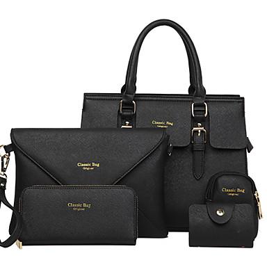 Kadın's Çantalar PU Çanta Setleri 5 Adet Çanta Seti için Alışveriş / Resmi / Ofis ve Kariyer İlkbahar yaz Beyaz / Siyah / Fuşya