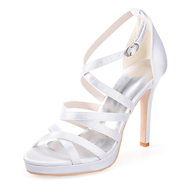 Damen Schuhe Seide Frühling Sommer Stöckelabsatz für Hochzeit Party & Festivität Schwarz Purpur Rosa Champagner Elfenbein