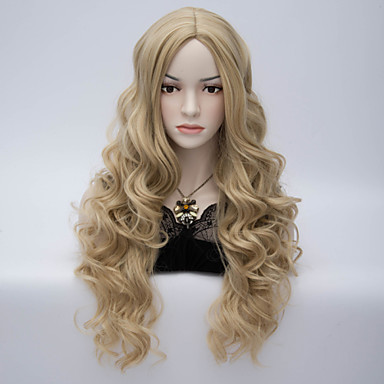 Syntetiske parykker Dame Bølget Grå Asymmetrisk frisyre Syntetisk hår Naturlig hårlinje Grå Parykk Lang Lokkløs Blond