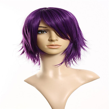 Perücken / Synthetische Perücken Glatt Asymmetrischer Haarschnitt Natürlicher Haaransatz Lila Damen Kappenlos Cosplay Perücke Kurz