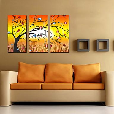 öljymaalaus koriste abstrakti onnekas puu käsin maalattu kankaalle venytetty kehystetty - 3 kpl