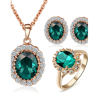 Women's Crystal / Synthetic Emerald Jewelry Set - Crystal, Cubic Zirconia, Imitation Diamond Dainty Include Rings Set For Wedding / Party / Daily