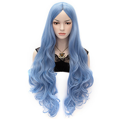 Synthetic Wig / Cosplay & Costume Wigs Wavy / Body Wave Synthetic Hair Blue Wig Women's Very Long Capless