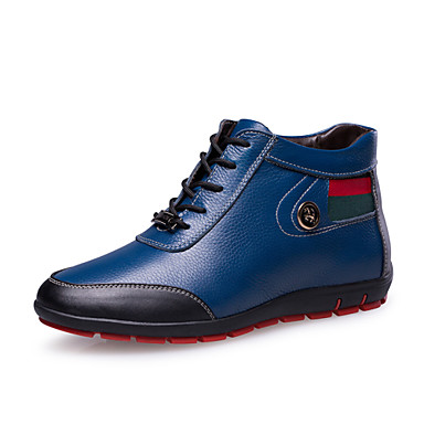 Men's Shoes Leather Spring Fall Comfort Sneakers Lace-up for Casual Black Blue