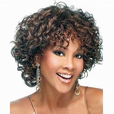 Syntetiske parykker Krøllet Asymmetrisk frisyre Syntetisk hår Naturlig hårlinje Svart / Brun Parykk Dame Kort Kostyme Parykk / Naturlig