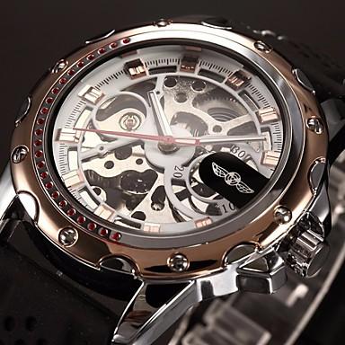 WINNER Herrn Armbanduhr Mechanische Uhr Automatikaufzug Transparentes Ziffernblatt Silikon Band Analog Luxus Schwarz - Golden Rotgold
