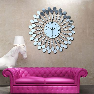 Modern Style Flower PS Mirror Wall Clock
