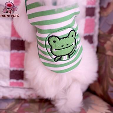 Γάτα Σκύλος Φανέλα Ρούχα για σκύλους Ριγέ Κινούμενα σχέδια Πράσινο Βαμβάκι Στολές Για κατοικίδια Στολές Ηρώων Γάμος