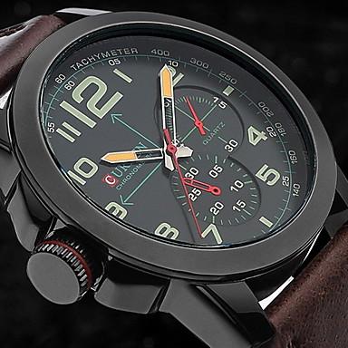 CURREN Męskie Wojskowy Zegarek na nadgarstek Kwarcowy Kwarc japoński Skóra Pasmo Brązowy Gold White Black