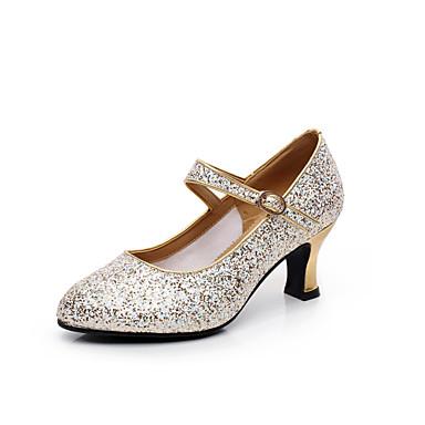 Mulheres Sapatos de Dança Moderna Salto Lantejoulas Salto Personalizado Personalizável Sapatos de Dança Dourado / Prata