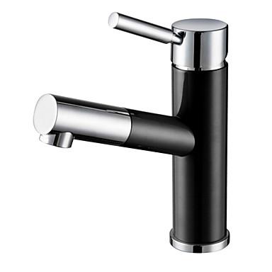 Art déco/Retro 3-Loch-Armatur Mit ausziehbarer Brause Keramisches Ventil Einhand Ein Loch Korrektur Artikel, Waschbecken Wasserhahn
