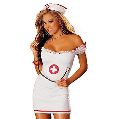 Sairaanhoitajat ura Puvut Cosplay-Asut Juhla-asu Naiset Halloween Joulu Karnevaali Festivaali/loma Halloween-asut Valkoinen Yhtenäinen