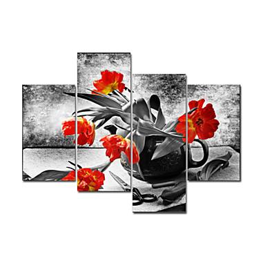 Asetelma Kasvitiede Pop Art 4 paneeli Pysty Painettu Wall Decor Kodinsisustus