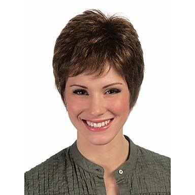 Synthetic Wig Curly Pixie Cut With Bangs Brown Women's Capless Carnival Wig Halloween Wig Short Synthetic Hair