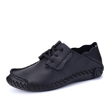 Homens sapatos Couro Primavera / Verão Conforto Oxfords Caminhada Cinzento / Marron / Castanho Escuro / Festas & Noite