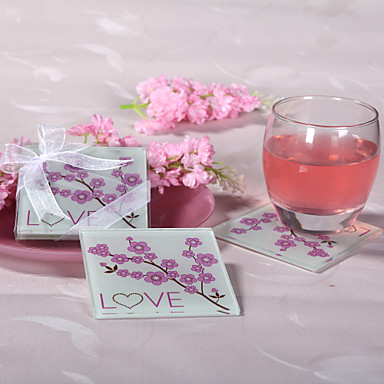 Cherry Blossom Love Glass Coaster Coaster Favors Wedding Party