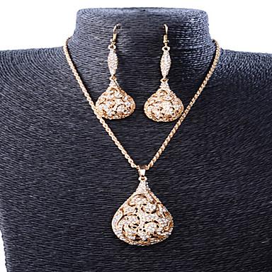 Syntetisk Diamant Smykkesett - Fuskediamant Dråpe Luksus, Vintage, Fest Inkludere Gull Til Fest Spesiell Leilighet jubileum