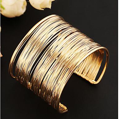 abordables Bracelet-Manchettes Bracelets Large bracelet Femme Multirang Creux dames unique Rétro Vintage Soirée Européen Mode Bracelet Bijoux Dorée Argent pour Soirée Quotidien