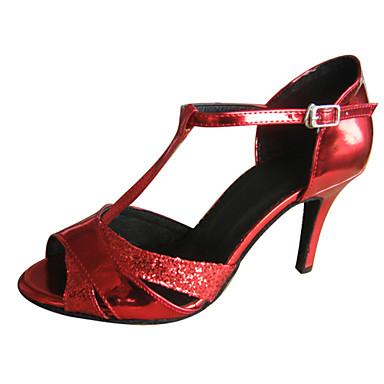 Женская обувь - Лакированная кожа/Мерцающая отделка Красный) - Латино