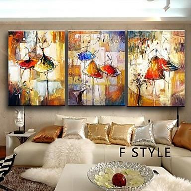 Kézzel festett Absztrakt Vízszintes,Klasszikus Tradicionális Három elem Hang festett olajfestmény For lakberendezési
