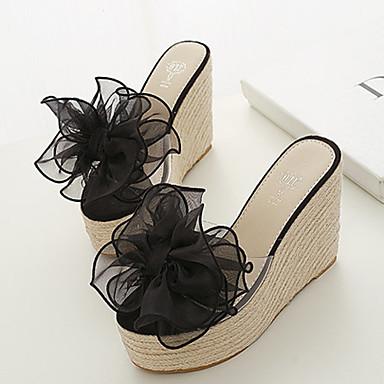 여성용 구두 실리콘 쐐기 뒤꿈치 캐쥬얼 용 꽃패턴 블랙 핑크 아몬드