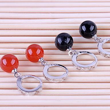 Damen Sterling Silber Tropfen-Ohrringe - Schwarz Rot Ohrringe Für Hochzeit Party Alltag
