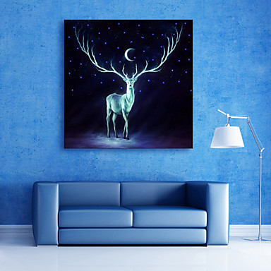 E-HOME® Stretched LED Canvas Print Art Deer LED Flashing Optical Fiber Print