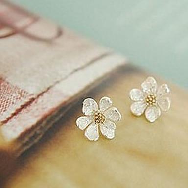 Women's Stud Earrings - Flower, Daisy Silver For