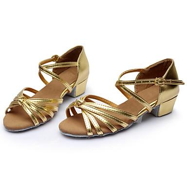 abordables Chaussures de Samba-Femme Chaussures de danse Soie Chaussures Latines / Salon Boucle / Ruban Sandale Talon Bottier Personnalisables Argenté / Marron / Doré / Daim / Intérieur / Entraînement / Professionnel / EU40