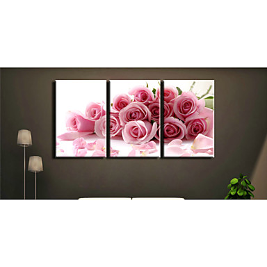 Prints Poster Wall Art Painting Pink Rose Pictures Print On Canvas  3pcs/set (Without Frame)
