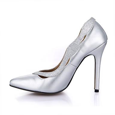 les talons de chaussures de confort du printemps automne automne automne talon aiguille orteil pour mariage et robe de soirée Argent  d4607c