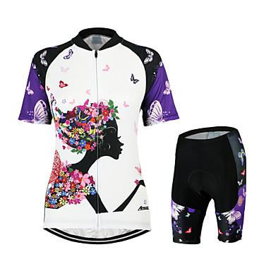 Arsuxeo Damen Kurzarm Fahrradtriktot mit Fahrradhosen - Weiss/schwarz Blumen / Pflanzen Fahhrad Kleidungs-Sets, 3D Pad, Rasche Trocknung,
