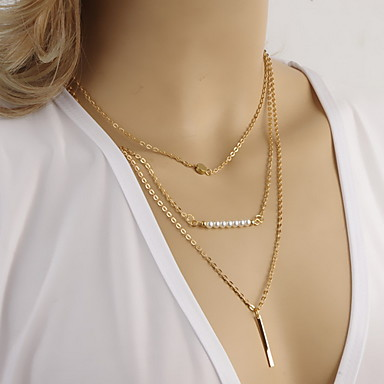 Women's Shape Fashion Simple Style Multi Layer Layered Necklace Pearl Necklace Pearl Alloy Layered Necklace Pearl Necklace