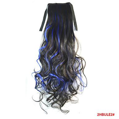 Große Wellen Synthetische Haare Haarstück Haar-Verlängerung 18 Zoll Regenbogen
