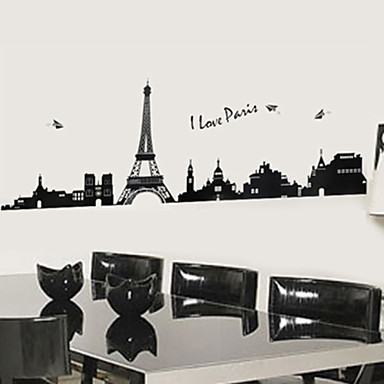 Architecture Landscape Wall Stickers Plane Wall Stickers Decorative Wall Stickers Material Re-Positionable Home Decoration Wall Decal