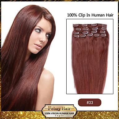 febay бренд 20-22inch 8шт 100г / комплект темно-каштановый (# 33) индийский зажим для волос в человеческих волосах