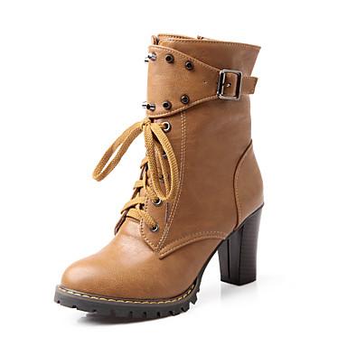 Γυναικεία Παπούτσια Δερματίνη Φθινόπωρο Χειμώνας Κοντόχοντρο Τακούνι 15,24εκ - 20,32εκ Μποτίνια για Causal Γραφείο & Καριέρα Φόρεμα Μαύρο
