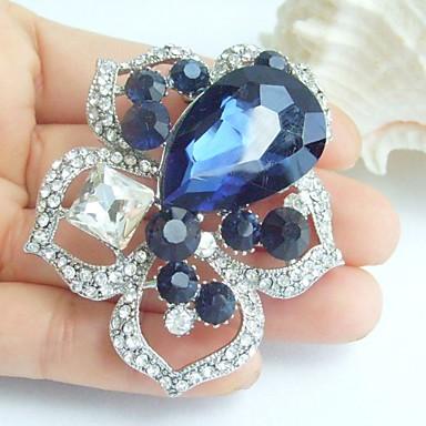 2.36 ιντσών διακοσμήσεις ασήμι-Ήχος μελάνι μπλε τεχνητό διαμάντι κρύσταλλο λουλούδι κρεμαστό κόσμημα καρφίτσα τέχνης