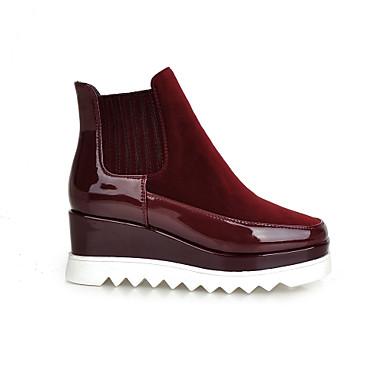 Femme Chaussures Laine synthétique Cuir Verni Printemps Automne Hiver Talon Compensé Bottine/Demi Botte Elastique Pour Décontracté Habillé