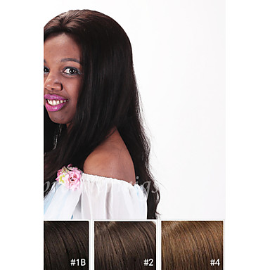 Echthaar Spitzenfront Perücke Glatt Perücke 130% Natürlicher Haaransatz / Afro-amerikanische Perücke / 100 % von Hand geknüpft Damen Kurz / Medium / Lang Echthaar Perücken mit Spitze / Gerade