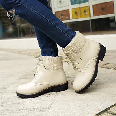 Femme Chaussures Laine synthétique Similicuir Printemps Automne Hiver Talon Bottier Bottine/Demi Botte Lacet Pour Décontracté Habillé