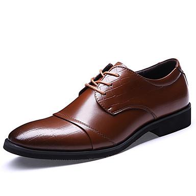 Для мужчин обувь Кожа Весна Лето Осень Зима Формальная обувь Туфли на шнуровке Шнуровка Назначение Свадьба Для вечеринки / ужина Черный
