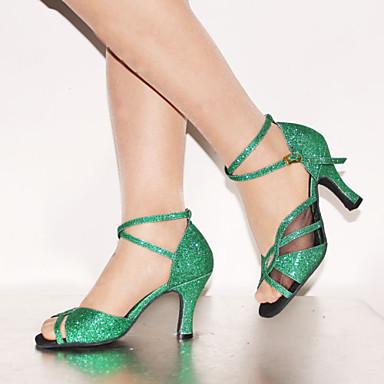 olcso Shall We® Tánccipők-Női Dance Shoes Bőrutánzat Latin cipők Glitter / Csat / Fűző Magassarkú / Szandál Személyre szabott sarok Személyre szabható Zöld / Otthoni / EU39