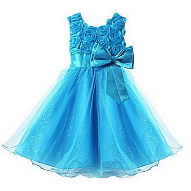 Χαμηλού Κόστους Ρούχα για Κορίτσια-Νήπιο Κοριτσίστικα Γλυκός Πριγκίπισσα Πάρτι Φλοράλ Φιόγκος Πολυεπίπεδο Αμάνικο Φόρεμα Ροζ