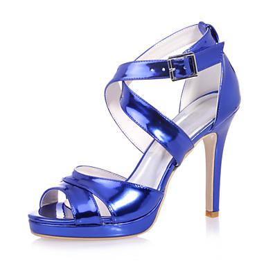 Sandaletler - Düğün / Parti ve Gece - Burnu Açık - Patentli Deri - Stiletto Topuk - Mavi / Gümüş / Altın - Kadın ayakkabı